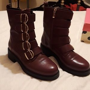 Never been worn Italian leather Burgandy boots